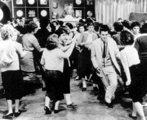 "Teens dance during ""American Bandstand"" in Philadephia in this undated photo.  ""American Bandstand"" first aired as a local show in Philadelphia, gained popularity with host Dick Clark after he joined the program in 1956, and then went national in 1957"